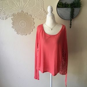 Free People coral oversize lace paneled sweater